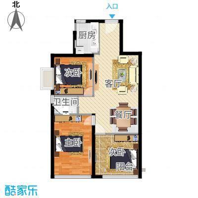 运河明珠家园90.00㎡1号7号楼A户型2室2厅1卫户型-副本