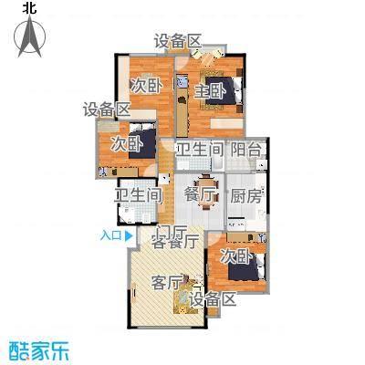 竹韵山庄户型3室1厅2卫1厨-副本