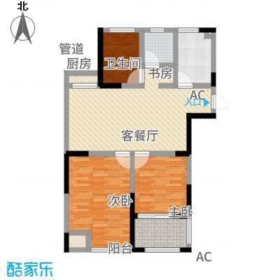 中江嘉城6.46㎡一期标准层D户型3室2厅1卫1厨-副本