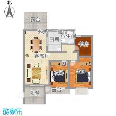 苏宁雅居90.00㎡一期24-25、34-39#标准层F6户型3室3厅1卫1厨-副本