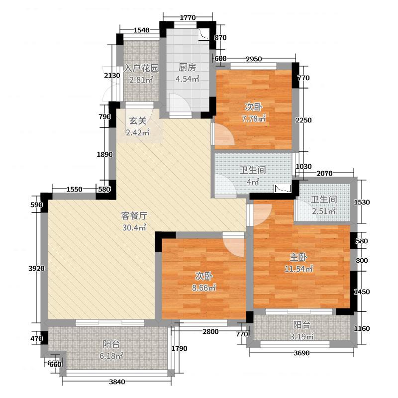 中国海南海花岛102.00㎡洋房s6-601户型3室3厅2卫1厨