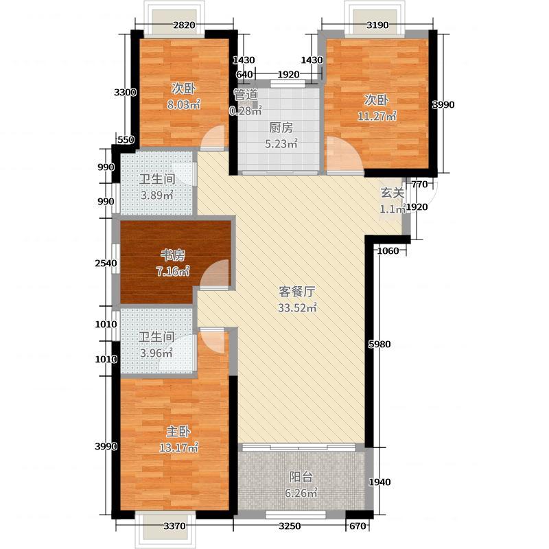 世茂御海墅116.00㎡d1户型4室4厅2卫1厨