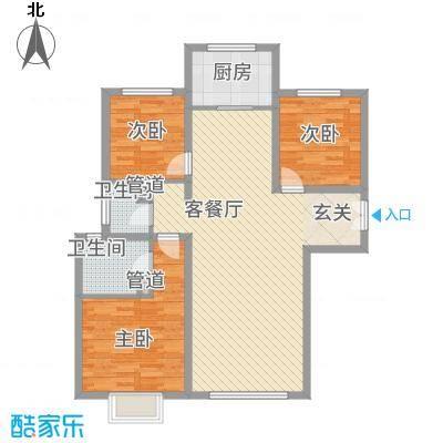 西荣阁12.00㎡卡改2-03户型3室2厅2卫1厨