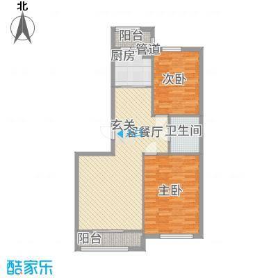 君悦国际城13.00㎡二期小高层C3户型2室2厅1卫1厨