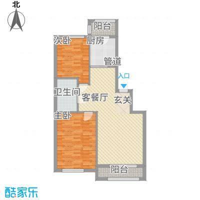 君悦国际城14.00㎡二期小高层C1户型2室2厅1卫1厨