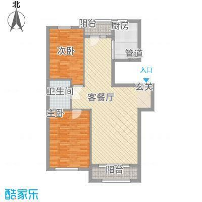 君悦国际城18.00㎡二期小高层C2户型2室2厅1卫1厨
