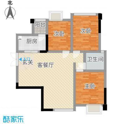 天悦府户型1室2厅1卫1厨