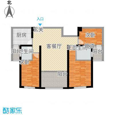 金K海景1313.56㎡户型3室2厅2卫1厨