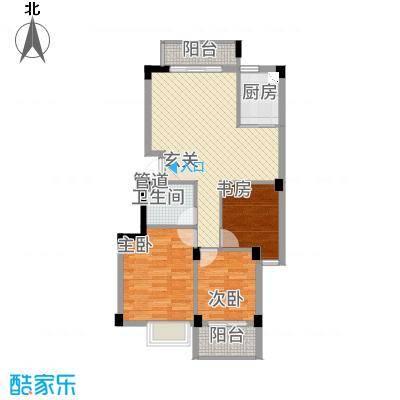 东城国际二期8.20㎡F9#0304050607单元3室户型3室2厅1卫1厨