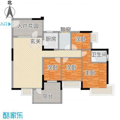 新都汇1幢01单元户型4室2厅2卫1厨
