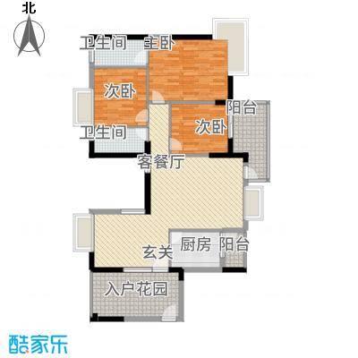 新都汇1幢04单元户型3室2厅2卫1厨