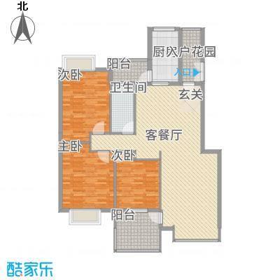 公园华府122.14㎡D户型3室2厅1卫1厨