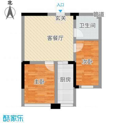 瑞景花园户型2室1厅1卫1厨