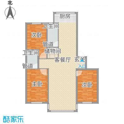 黄金水岸12.00㎡户型3室3厅1卫