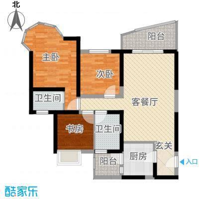 凯信水韵滨江二期公园大帝117.00㎡J户型3室2厅2卫1厨