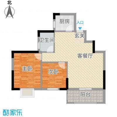 大地・潜龙山居82.00㎡B户型2室2厅1卫