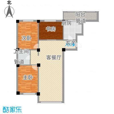 龙脉海景花园12.00㎡4号楼标准层户型3室2厅