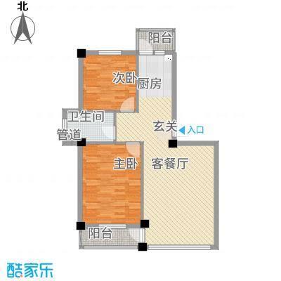龙脉海景花园83.78㎡4号楼标准层户型2室1厅
