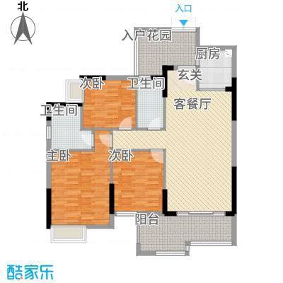 尚东雅轩18.00㎡2幢A302/07单元户型3室2厅2卫1厨