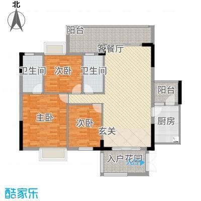 尚东雅轩14.00㎡2幢A404/05单元户型3室2厅2卫1厨