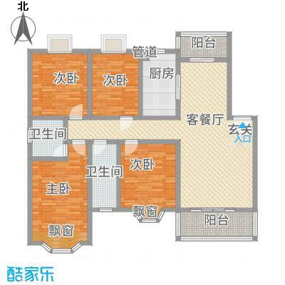 天工颐园D户型4室2厅2卫1厨