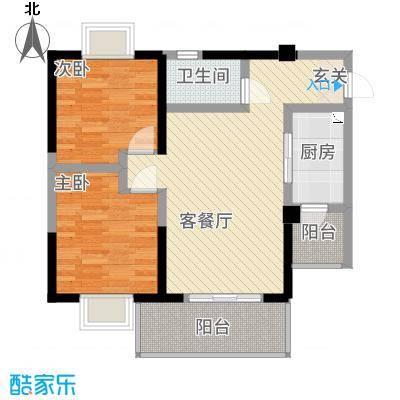 鑫恒香廷128.37㎡B1户型2室2厅1卫1厨