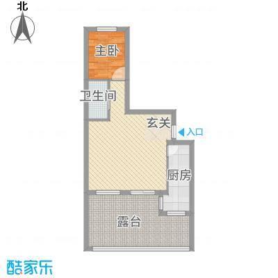 鹏博・长江花园74.00㎡74户型1室2厅1卫1厨