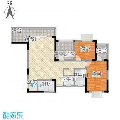 富兴嘉城112.68㎡1#C户型2室2厅2卫1厨