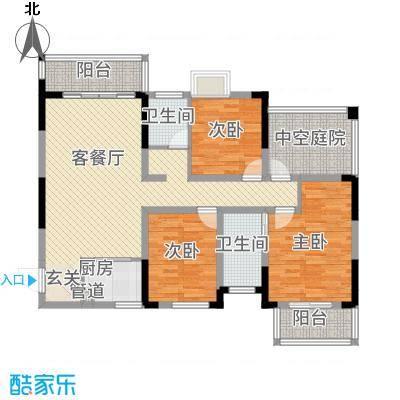 富兴嘉城123.36㎡23#C户型3室2厅2卫1厨