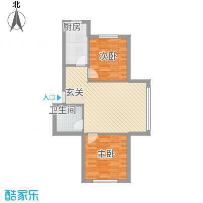 鹏博・长江花园68.00㎡68户型2室2厅1卫1厨