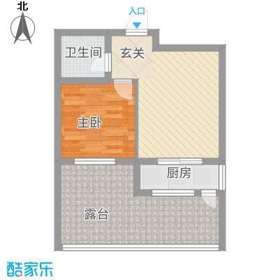 鹏博・长江花园62.00㎡62户型1室2厅1卫1厨