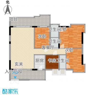 大唐盛世三期1幢03单元户型3室2厅2卫1厨