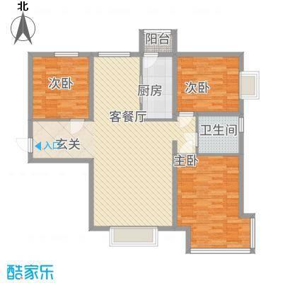 京润现代城126.30㎡5户型3室2厅1卫1厨
