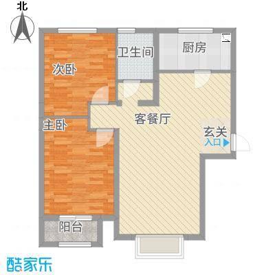 京润现代城7.70㎡2户型2室2厅1卫1厨