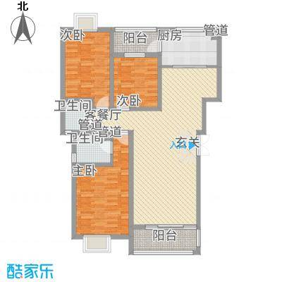 学府苑135.30㎡4#A户型3室2厅2卫1厨