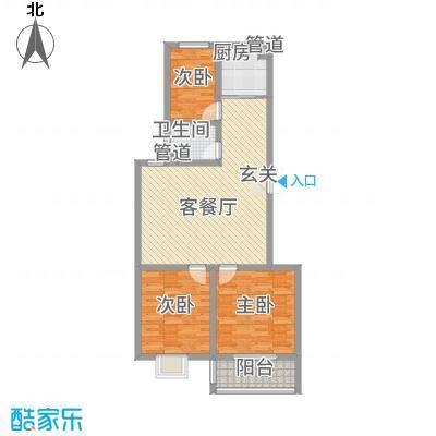 学府苑18.66㎡8#F户型3室2厅1卫1厨