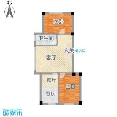 清风竹阁88.20㎡户型2室2厅1卫