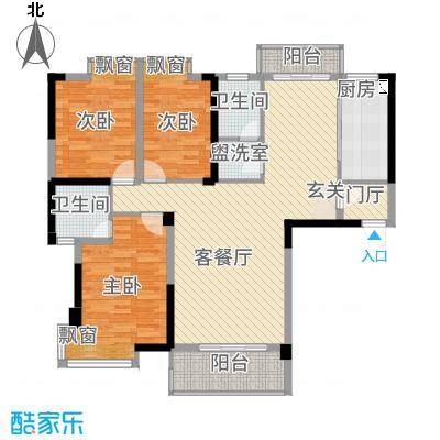 北湖名门峰尚二期13.21㎡A户型3室2厅2卫1厨
