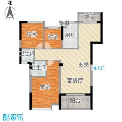 美集财富时代113.63㎡D户型3室2厅2卫1厨