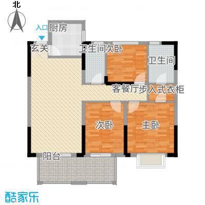 联投花山郡113.00㎡二期12、17号楼E1'户型3室2厅2卫1厨