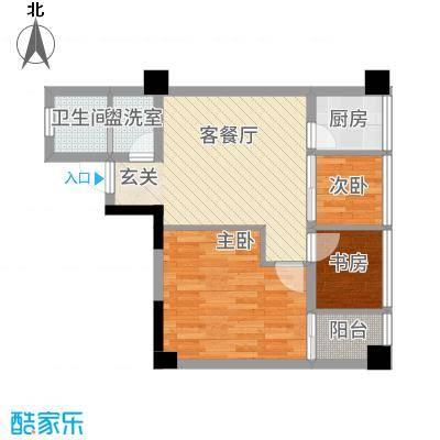 聚鑫2期阔座67.00㎡B户型2室2厅1卫1厨