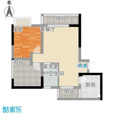 聚鑫2期阔座72.00㎡H户型1室2厅1卫1厨