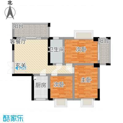 明珠花园2.28㎡A栋02户型3室1厅1卫1厨