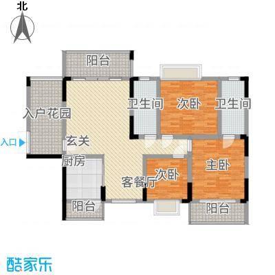 明珠花园135.40㎡B栋02户型3室2厅2卫1厨