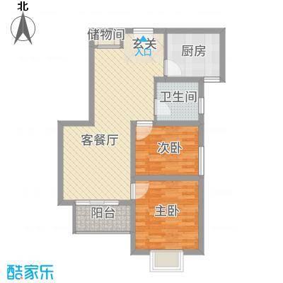 宜辉现代城83.42㎡4号楼高层A户型2室2厅1卫1厨