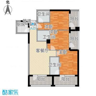 凯逸黄金海岸11.10㎡B户型3室2厅3卫