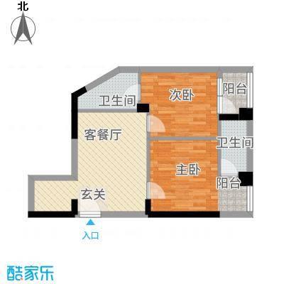 凯逸黄金海岸6.32㎡C户型2室1厅2卫