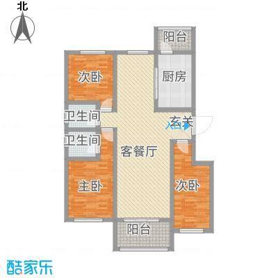 逸境华府138.50㎡2号楼A户型3室2厅2卫1厨