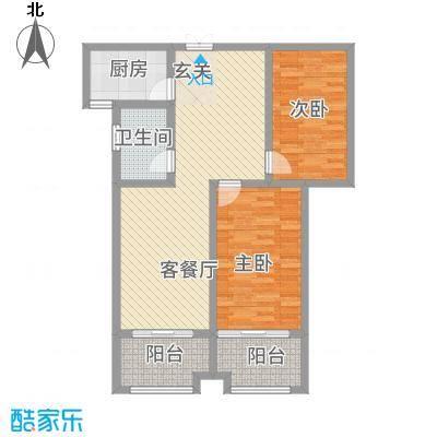 逸境华府1.62㎡1号楼C户型2室2厅1卫1厨