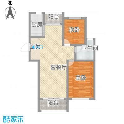 逸境华府114.60㎡1号楼A户型2室2厅1卫1厨
